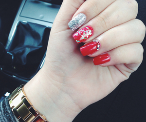 fossil, glitter, and nails image