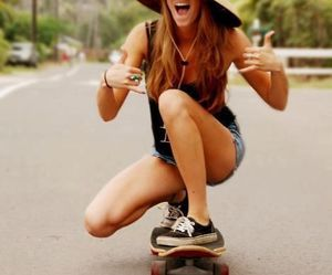 girls, hat, and skateboard image