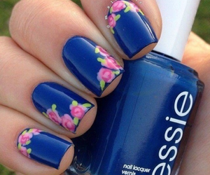 nails, blue, and flowers image