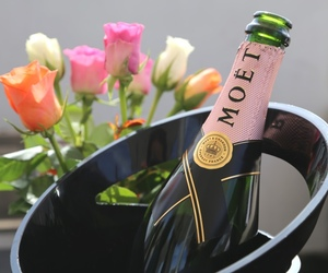 flowers, champagne, and rose image