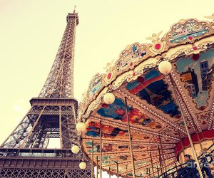 eiffel tower, paris, and carousel image