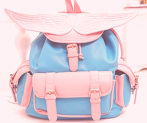 pink, backpack, and blue image
