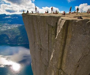 cliff, norway, and fjords image