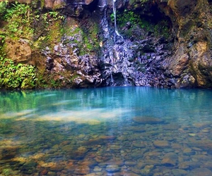 pool, waterfall, and crystal clear image