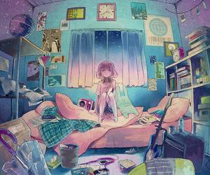 anime, room, and anime girl image