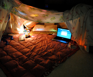 fort, lights, and sheets image
