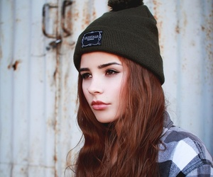 girl, hair, and beanie image