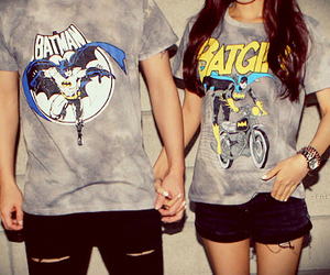 batman, couple, and batgirl image