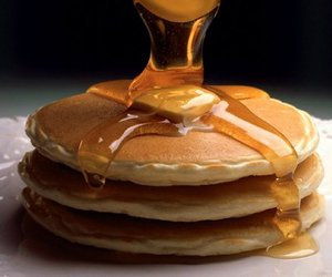 food, maple syrup, and pancakes image