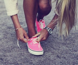 vans, pink, and girl image