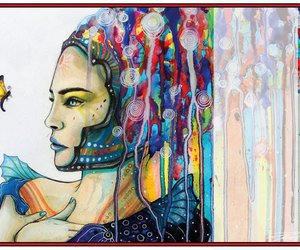 woman, art, and colours image