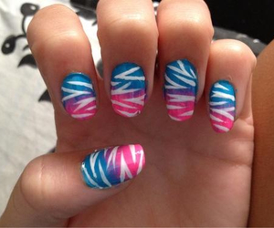 nails, ombre, and zebra image