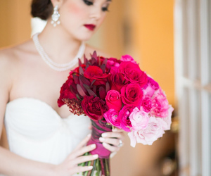 bouquet, pink, and flower image