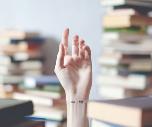 tattoo, book, and hand image
