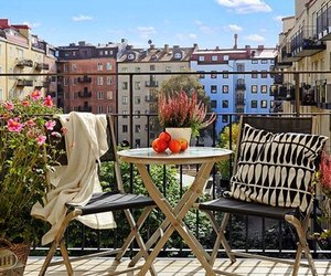 balcony, beautiful, and chair image