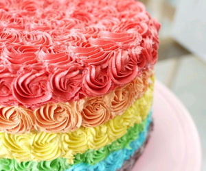 cake, rainbow, and sweet image