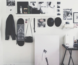 room, black, and white image