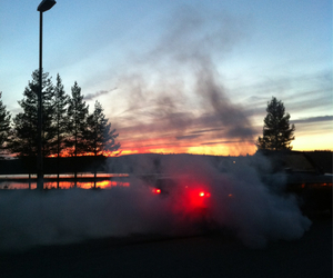sunset, car, and smoke image