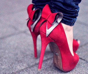 jeans, red, and shoes image