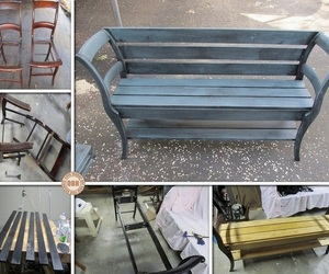 bench, chairs, and diy image