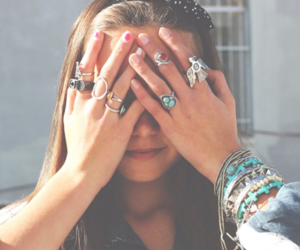 girl, jewerly, and rings image