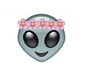 alien, emoji, and flowers image