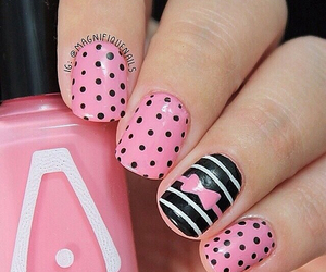 pink, nails, and black image