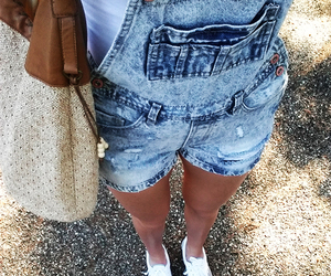 beach, dungarees, and fashion image