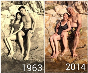 couple, old, and sea image