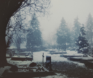 cemetery, photography, and snow image