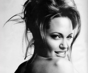 Angelina Jolie, black and white, and beautifil image