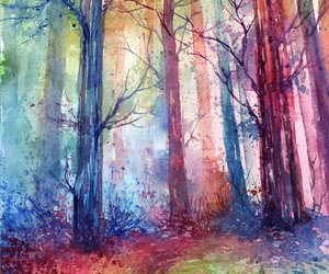 art, trees, and colourful image