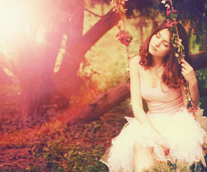 girl, flowers, and swing image