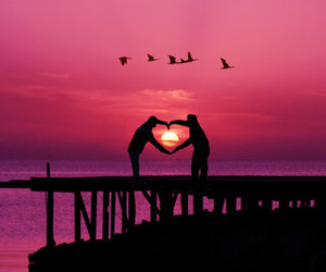 love, heart, and sunset image
