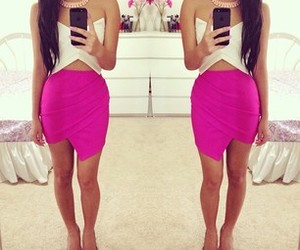 pencil skirt, purple skirt, and crop top image