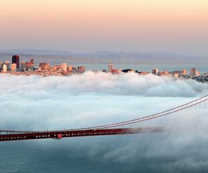 city, bridge, and clouds image