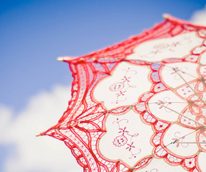 red, umbrella, and pretty image