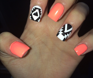 aztec, black and white, and nail art image