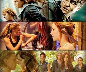 harry potter, percy jackson, and th hunger games image