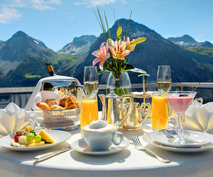 breakfast, food, and mountains image