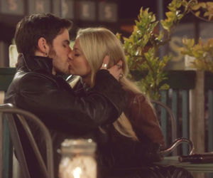 once upon a time, kiss, and captain swan image
