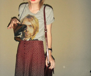 boots, floral skirt, and t-shirt image