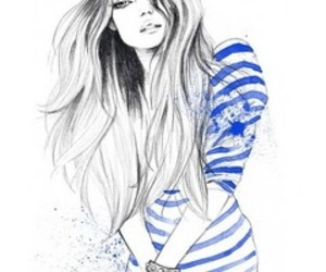 girl, blue, and drawing image