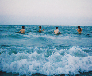 sea, friends, and summer image