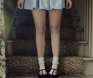 blue dress, legs, and shoes image