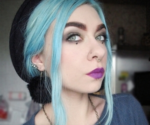 blue hair, make-up, and piercing image