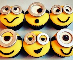 minions, cupcake, and yellow image