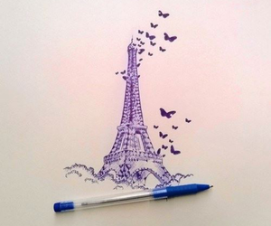 blue, eifel tower, and drawing image