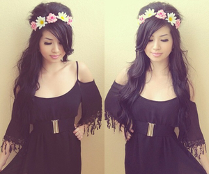 black, fashionista, and flower crown image