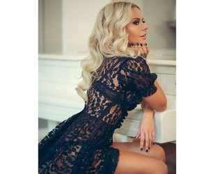 beautiful, black lace, and blonde image